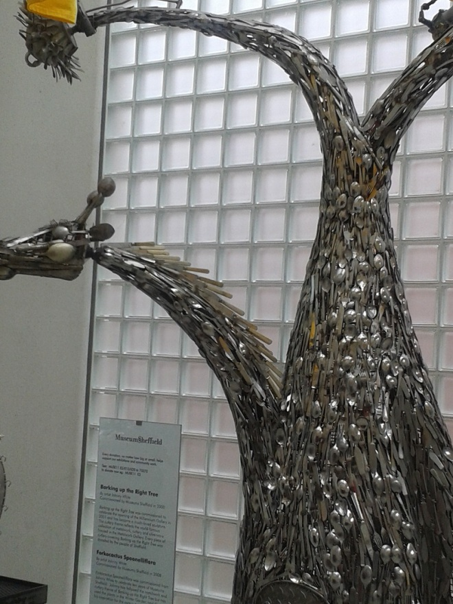 Sculpture made from Sheffield cutlery.
