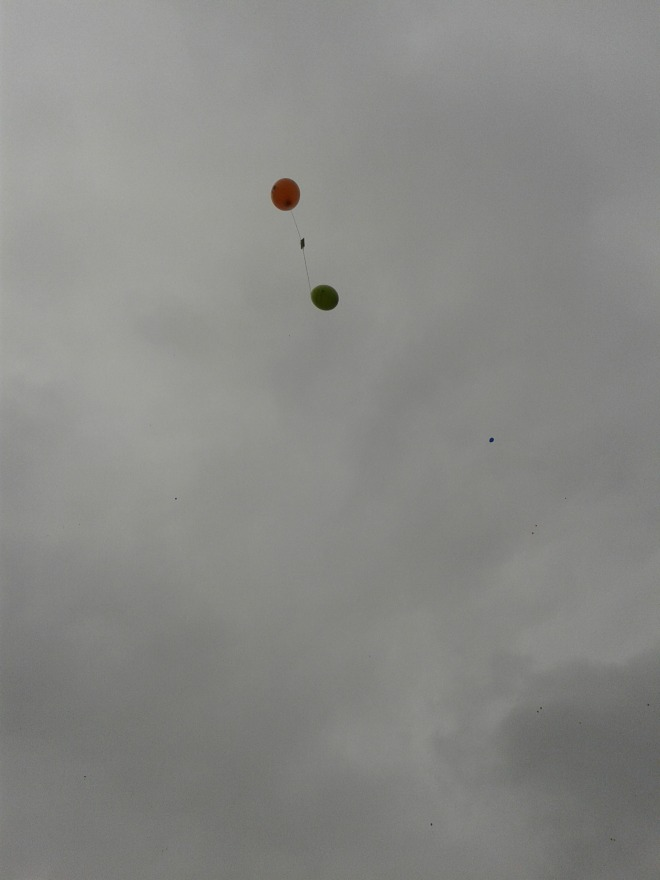 Releasing balloons for the Charity Walk.