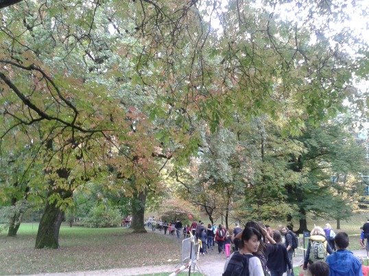 Walking for charity in the Botanical Gardens in Geneva.