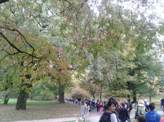 Walking for charity in the Botanical Gardens in Geneva.