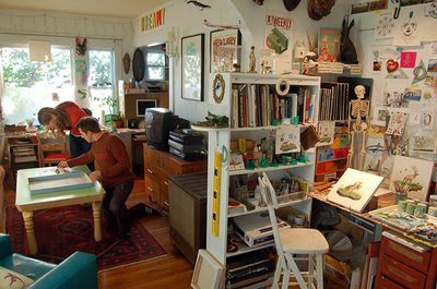 Josh Keyes studio, Bookish-ambition.blogspot.com