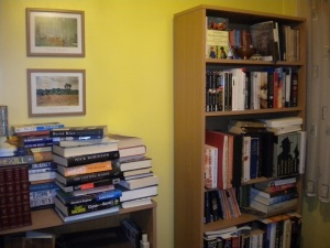 Untidy bookshelves