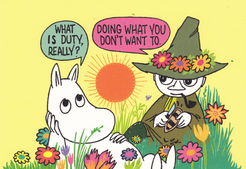 Two of my favourite characters: Moomintroll and Snufkin. From Rebloggy.com