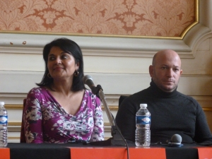 Kishwar Desai and Dror Mishani in Lyon, 2015.