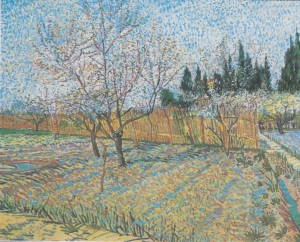 Orchard with flowering peaches, watercolour from Wikipedia.