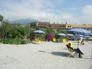 Fake beach at Vevey.