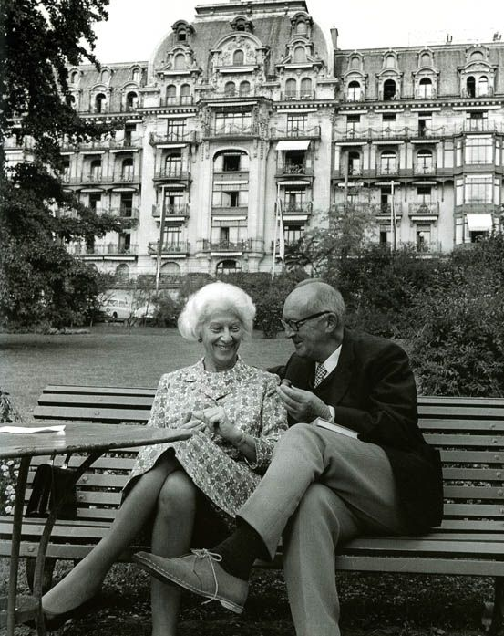 Vladimir Nabokov and his wife Vera outside the Montreux Palace Hotel, where he lived for the last 16 years of his life. From Pinterest.