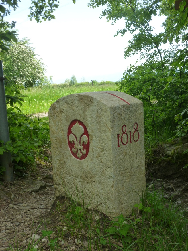 Border stone between France and Switzerland.