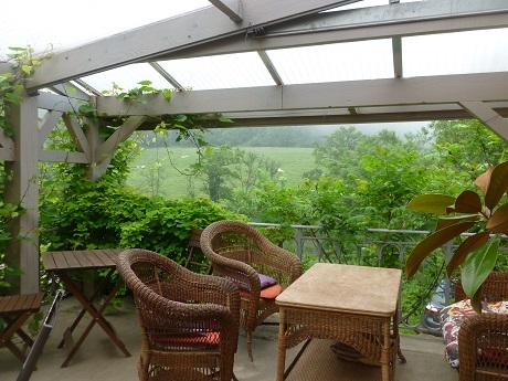 Breakfast terrace, one of the few spots with WiFi access.
