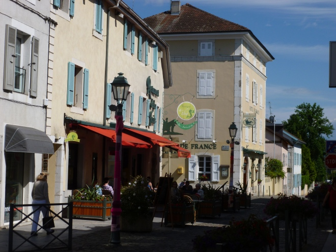 The main street of Ferney. The house on the corner, currently a hotel/restaurant, was built by Voltaire for his personal secretary.