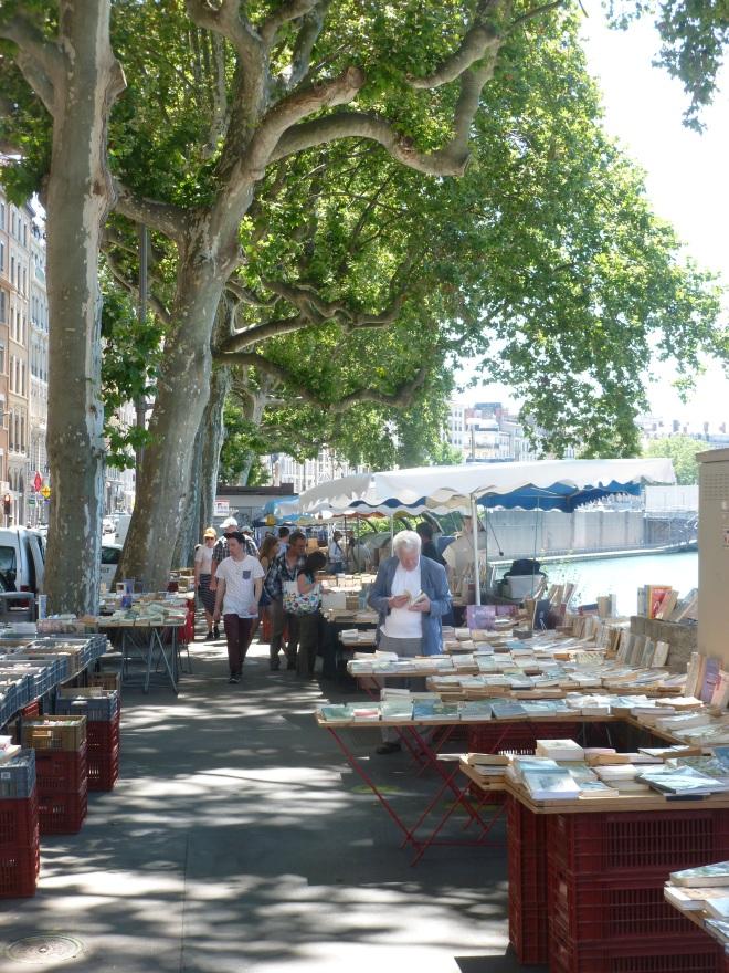 Bookstands on the Quai de la Pecherie, on the Saone.