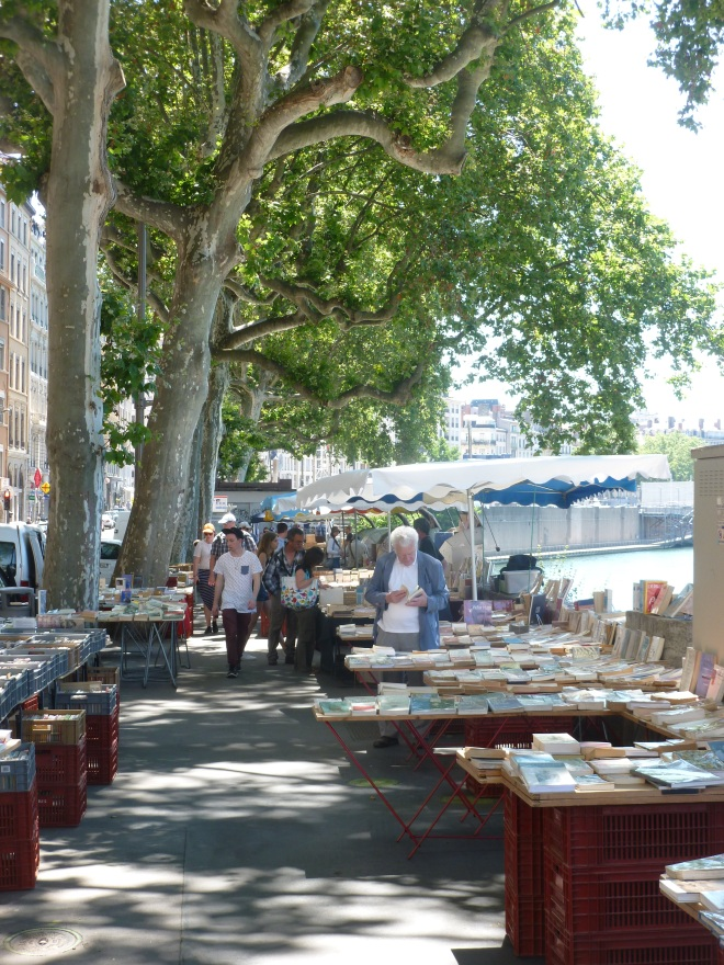 Bookstands on the Quai de la Pecherie, on the Saone.