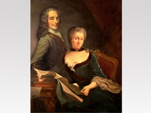 Voltaire and Mme du Chatelet, probably an apocryphal painting, from weblogs.senecacollege.ca