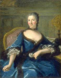 Portrait by Marianne Loir. In almost all of her portraits, Emilie faces her viewers directly, unashamedly, a pose which was highly unusual for women at the time. Notice also she nearly always holds a compass or other elements denoting her scientific passions.