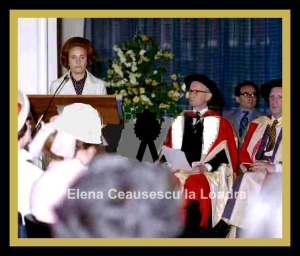 Elena Ceausescu receiving an honorary degree in London.